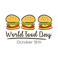 lettering celebrazione della giornata mondiale dell'alimentazione con stile piatto di hamburger
