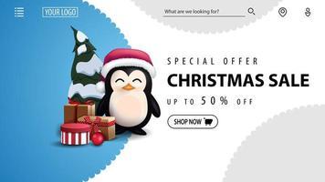 offerta speciale, saldi natalizi, fino a 50 sconti, banner sconto blu e bianco per sito web con pinguino in cappello di babbo natale con regali