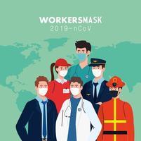 persone lavoratori con maschere da lavoro e disegno vettoriale mappa del mondo