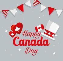 bandiera cappello canadese e cuori di disegno vettoriale felice giorno del canada