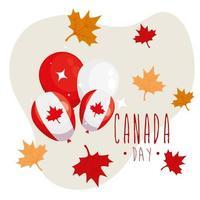 palloncini canadesi e foglie di acero di happy canada day vector design