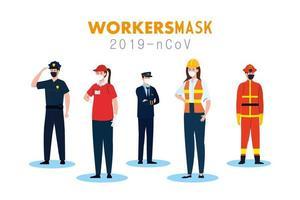 persone lavoratori con uniformi e maschere operaio disegno vettoriale