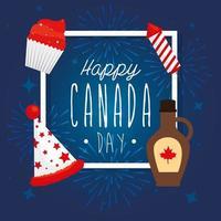 sciroppo d'acero canadese cappello fuochi d'artificio e disegno vettoriale cupcake