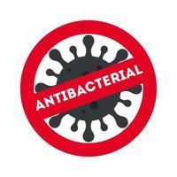 divieto antibatterico con disegno vettoriale virus covid 19
