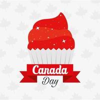 cupcake canadese di disegno vettoriale felice giorno del canada