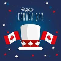 cappello canadese con bandiere di disegno vettoriale felice giorno del canada