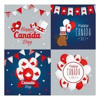 icona canadese imposta i fotogrammi del disegno vettoriale felice giorno del canada
