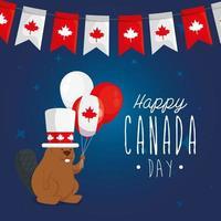 castoro canadese con palloncini di felice giorno del canada disegno vettoriale