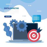portatile con destinazione e set di icone di disegno vettoriale di marketing digitale