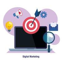 portatile con lente di ingrandimento e set di icone di disegno vettoriale di marketing digitale