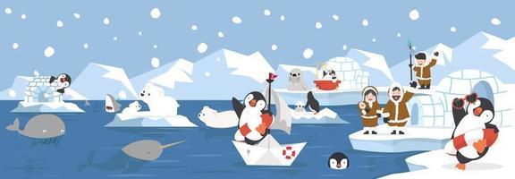 cartone animato paesaggio artico con animali e banner di persone inuit vettore