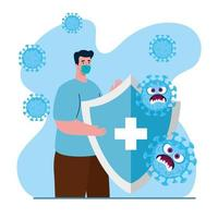 uomo con maschera medica e scudo e cartoni animati disegno vettoriale