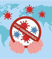 mano che tiene stop coronavirus 2019 ncov divieto disegno vettoriale