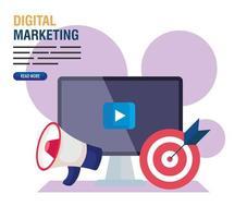 computer con megafono e destinazione del disegno vettoriale di marketing digitale