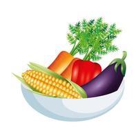 pepe melanzane carote e mais disegno vettoriale