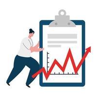 donna con documento e aumentare la freccia del disegno vettoriale di fallimento