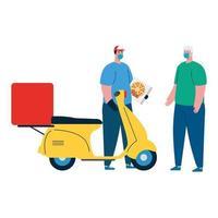 uomo e fattorino con maschera moto e pizza box disegno vettoriale