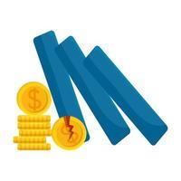 monete del dollaro rotte di disegno vettoriale di fallimento