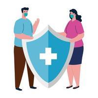 avatar donna e uomo con maschera medica e disegno vettoriale scudo