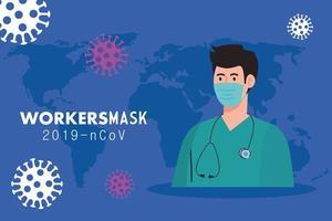 paramedico che indossa una maschera medica contro 2019 ncov vettore