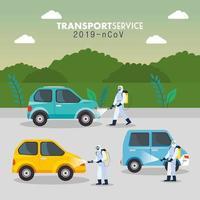 servizio di disinfezione auto, prevenzione coronavirus covid 19, superfici pulite in auto con spray disinfettante, persone con tuta a rischio biologico vettore
