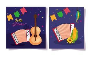 festa junina set cards, brasile june festival con decorazioni vettore
