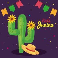 festa junina con cactus e decorazioni, festival di giugno in brasile, decorazioni per celebrazioni vettore