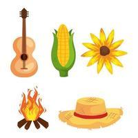 festa junina con festival, festival di giugno brasile, set di icone vettore