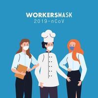 donne lavoratrici che indossano mascherina medica durante il covid 19 vettore