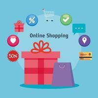 shopping online regalo borsa e set di icone disegno vettoriale