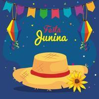 festa junina con cappello di vimini e decorazione, festival di giugno brasile vettore