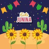 festa junina con girasoli e decorazioni, festival di giugno brasile vettore