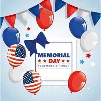 memorial day, in onore di tutti coloro che hanno servito, ricorda e onora, con palloncini decorati con elio vettore