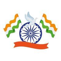 simbolo indiano della ruota blu ashoka, chakra ashoka con colomba volante e bandiere india vettore