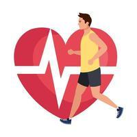 uomo che corre con impulso cardiaco sullo sfondo, atleta maschio con cuore cardiologico vettore