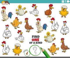 gioco unico nel suo genere per bambini con polli dei cartoni animati vettore