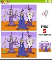 differenze compito educativo per bambini con personaggi fantasy maghi vettore