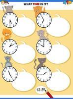raccontare il compito educativo del tempo con simpatici gatti vettore