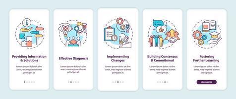 fasi di consulenza aziendale onboarding schermata della pagina dell'app mobile con concetti