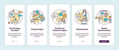 sfide aziendali onboarding schermata della pagina dell'app mobile con concetti