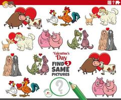 trova due stesse coppie di animali dei cartoni animati a San Valentino vettore