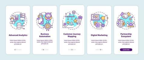 componenti di consulenza digitale onboarding schermata della pagina dell'app mobile con concetti