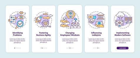 attività di consulenza aziendale onboarding schermata della pagina dell'app mobile con concetti