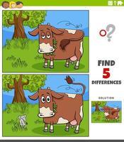 differenze compito educativo per bambini con mucca al pascolo vettore