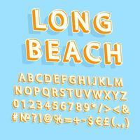 insieme di alfabeto di vettore 3d dell'annata lunga spiaggia