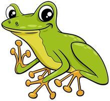 piccola illustrazione sveglia del fumetto della rana di albero vettore