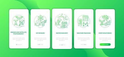 Schermata della pagina dell'app mobile per l'onboarding di tecnologia agricola innovativa con concetti