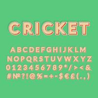 insieme di alfabeto di vettore 3d dell'annata di cricket