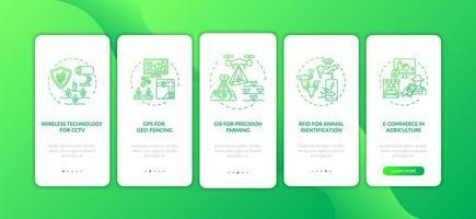 tecnologia dell'informazione in agricoltura onboarding schermata della pagina dell'app mobile con concetti