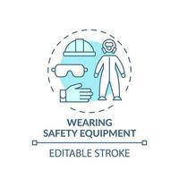 che indossa l'icona del concetto di equipaggiamento di sicurezza